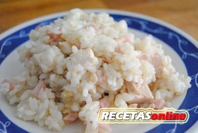 Arroz con jamón cocido y pollo asado - Recetas de cocina RECETASonline