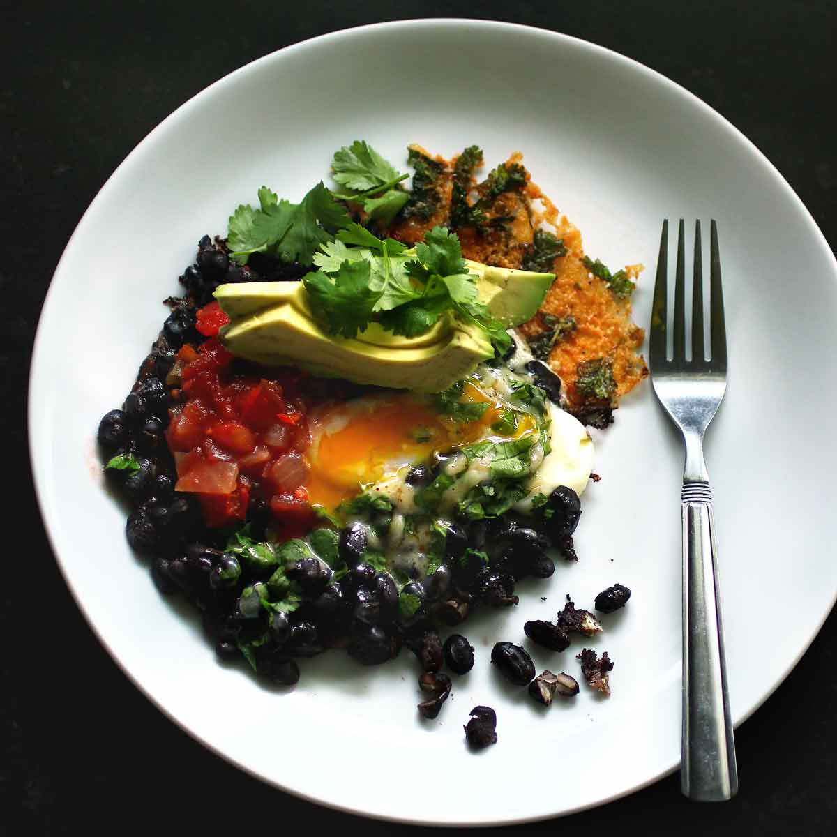 Crispy Cheesy Black Bean Breakfast (or lunch, or dinner)