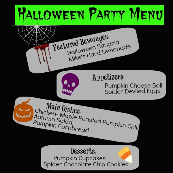 Adult Halloween Party Menu