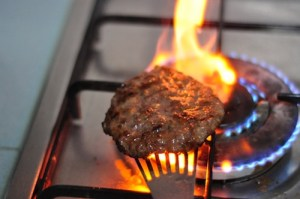 Home Made Beef Burger - flame grill