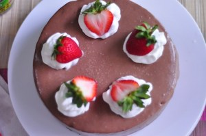 moist dark chocolate cake with strawberry deco