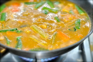sambar recipe - Kerala varutharacha sambar add to wok