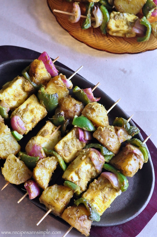 Paneer and Potato Tikka Skewers RECIPE