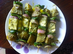 skewer to microwave Paneer and Potato Tikka Skewers