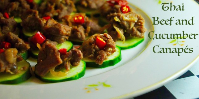 thai beef and cucumber canapes
