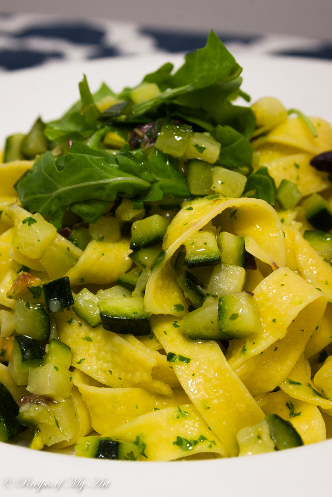 Hi, today I am sharing a lovely Courgette Pistachio Pasta with Rocket ...