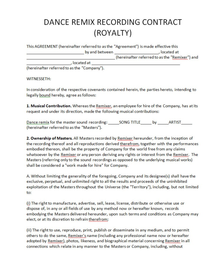 Record Label Agreements - - music agreement contract