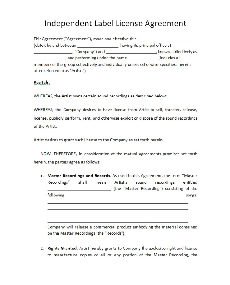 Music Licensing Contract Template  Resume Template Microsoft Word