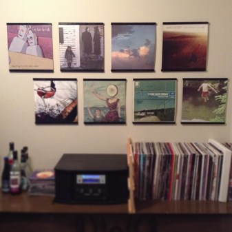Home stereo with vinyl records