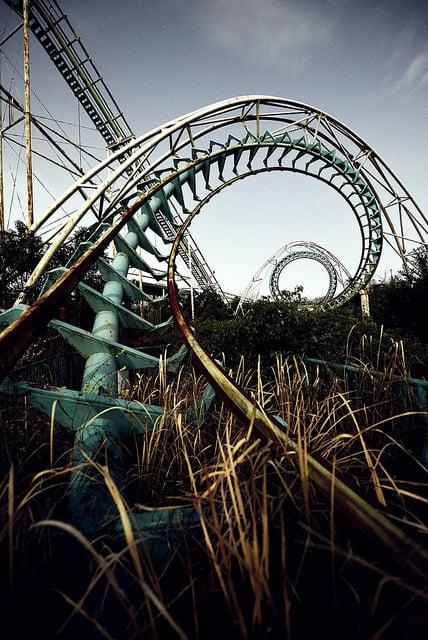 opuszczone roller coaster w parku Japonia Nara
