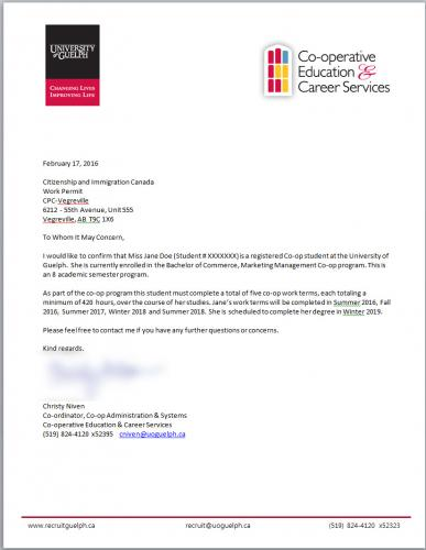 Verification Letters Co-operative Education  Career Services
