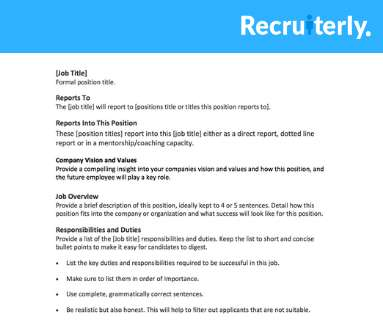 Job Descriptions - Recruiting Brief