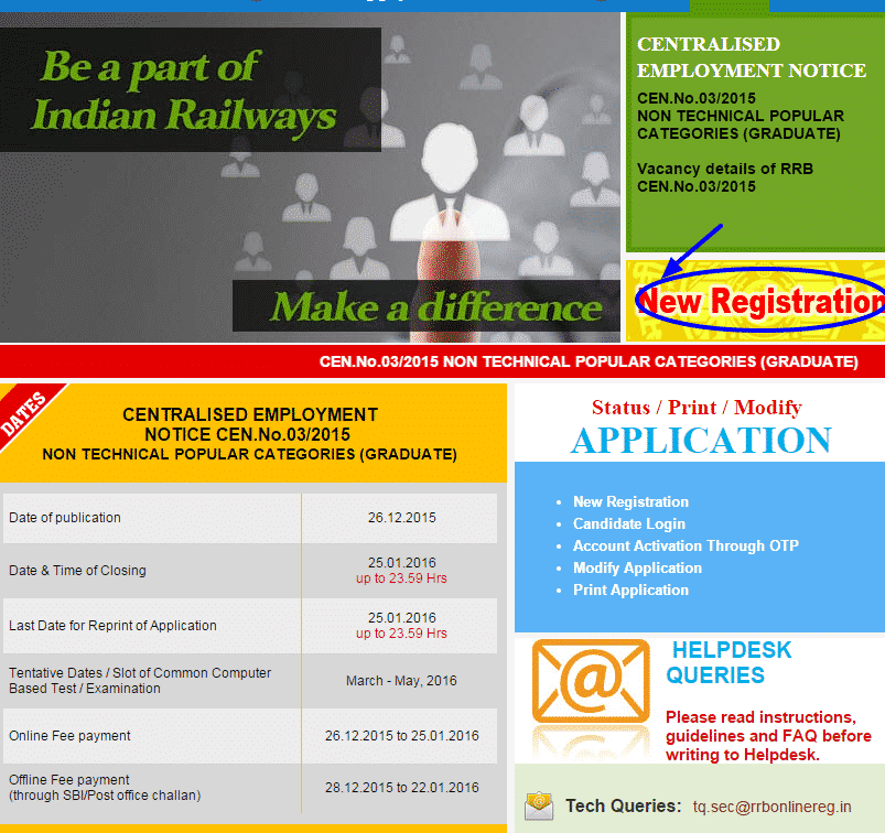 RRB Online application 2016   RRB Non Technical apply Online   18252 Jobs