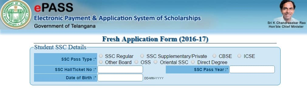 TS epass Online Application 2016 17   Apply Online for TS Scholorship Fresh and Renewal Post Metric @ telanganaepass.cgg.gov.in