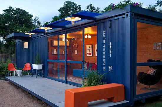 container closeup Container guest house in metals architecture  with House Container