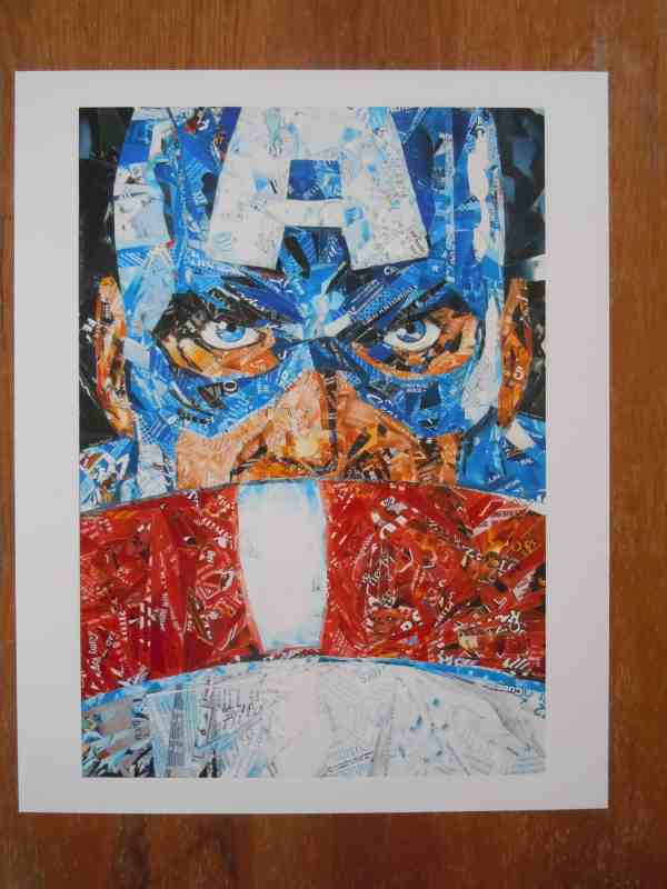 DSCN2068 600x800 Recycled Superheroes in packagings art  with Upcycled Recycled mosaic collage Art