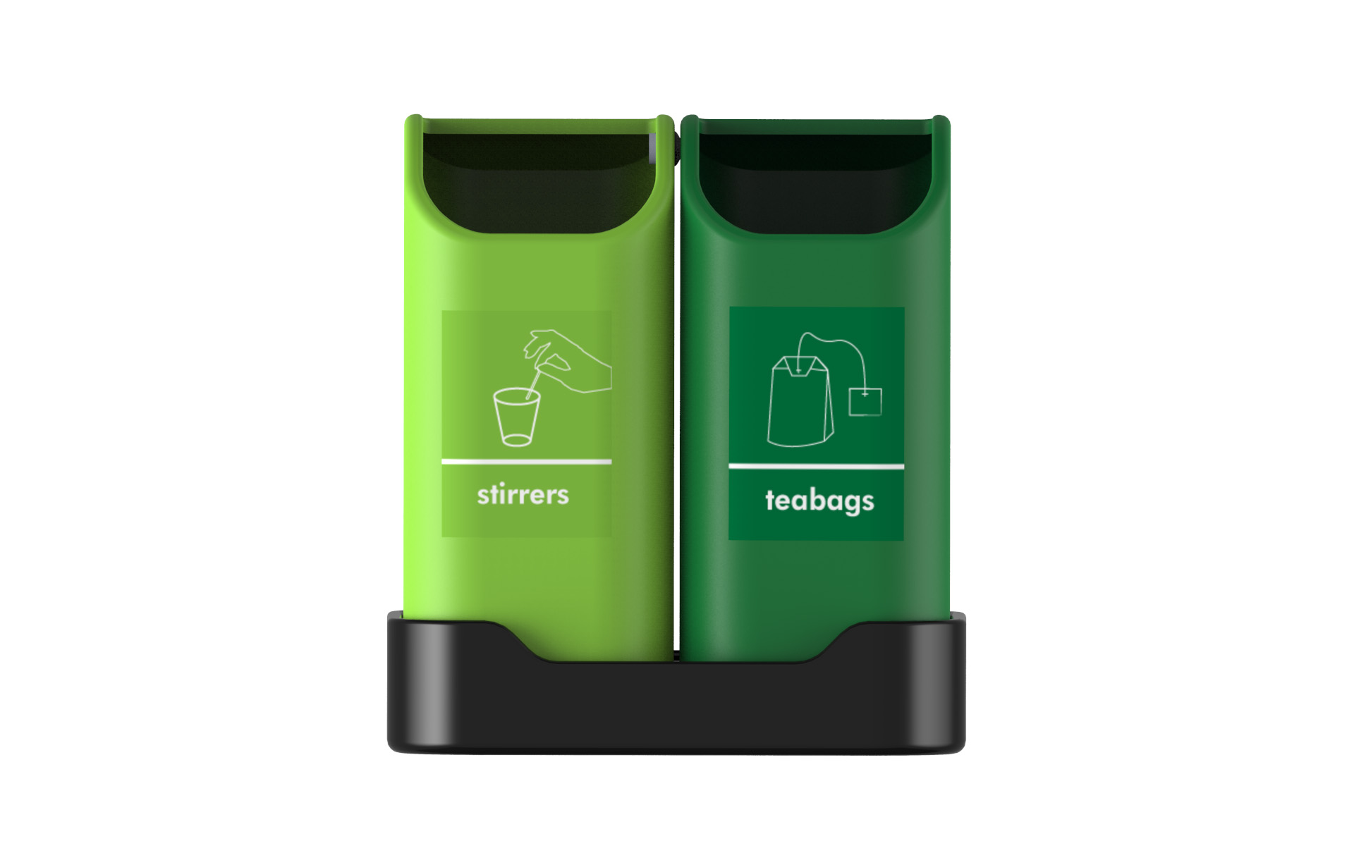 Desktop Tiny Tidy Recycling Bins For Teabags And Stirrers