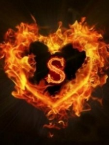 flaming s with heart
