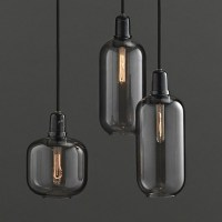 Amp Lamp Small - Smoke Black - glass pendant light ...