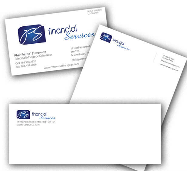 PS Financial Services - RCS - letterhead and envelope design