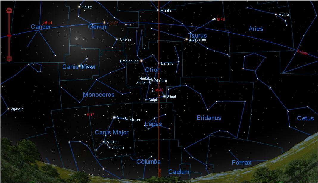 The Easily Recognizable Constellation Of Orion Dominates The Sky With Red Giant Star Betelgeuse At The Upper Left And Blue White Rigel At The Lower Right