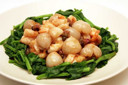Rose Flavored Stir-fried Shrimp with Lychees