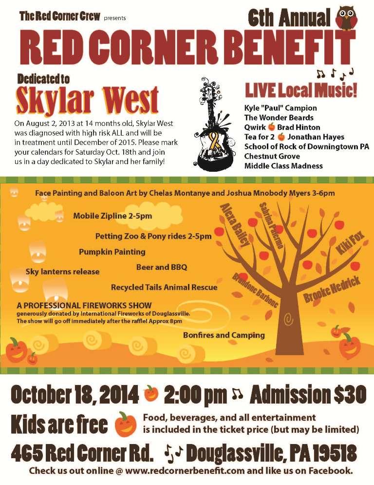 2014 \u2013 Skylar West \u2013 Red Corner Benefit - bbq benefit flyers