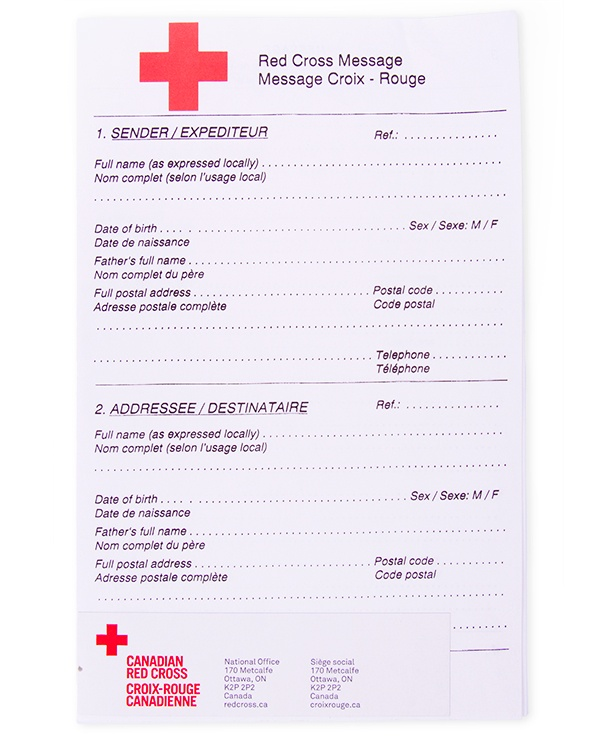 Red Cross Message Form - Canadian Red Cross Timeline