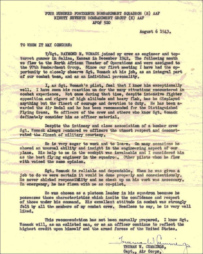 DEDICATED TO 97th BG 414th BS - air force recommendation letter sample