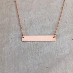 handmade rose gold bar necklace