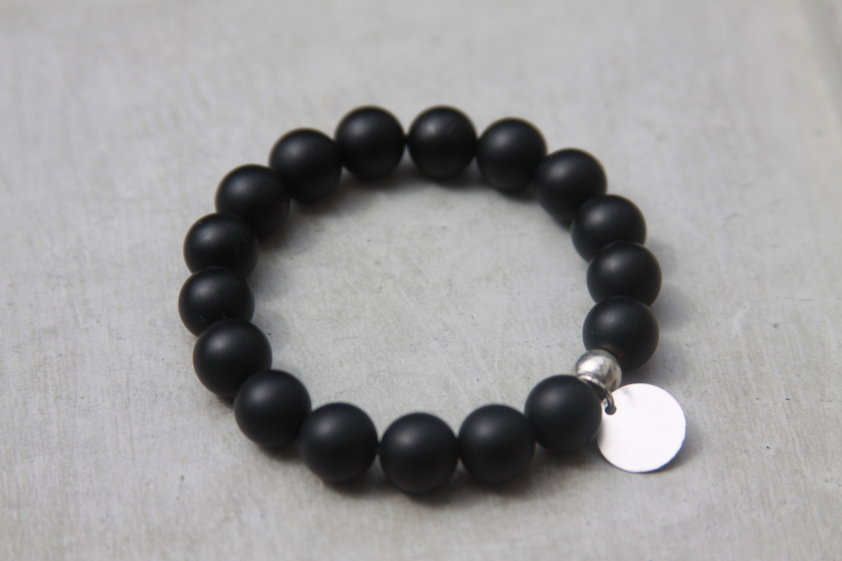 Black Matte Gemstone Beaded Bracelet