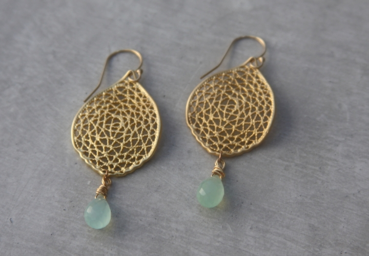 handmade gold chalcedony earrings