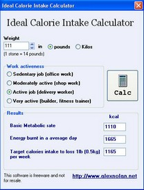 idealcaloriecalculator small Ideal Calorie Intake Calculator   freeware to work out your basic metabolic rate