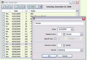 datereminder small Date Reminder   small freeware program reminds you of recurring dates