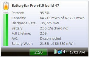 batterybar small BatteryBar   fab freeware keeps a close watch on your battery status