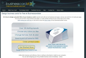 businesscardstar1 small Business Card Star   design and print your own business cards