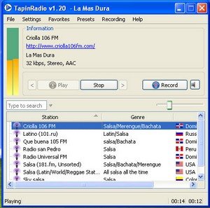 tapinradio small Tapin Radio   cool freeware delivers 400 free radio stations and recording