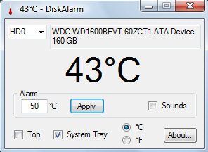 diskalarm small DiskAlarm   freeware keeps track of your hard disk temp, saves lives...