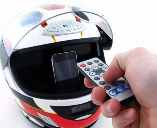 Moto GP Helmet Sound System is an expensive iPod dock