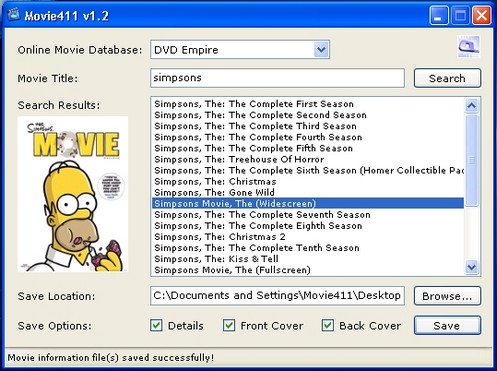 movie411 small Movie411   freeware lets you grab movie information and cover art for your digital copies