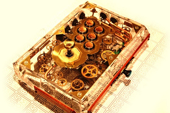 custom steampunk fight stick by sam kurd aka b15sdm designs1 Steampunk Fight Stick is almost too beautiful to use