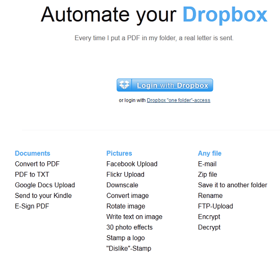 Dropbox Automator Dropbox Automator carries out tasks within your Dropbox folder