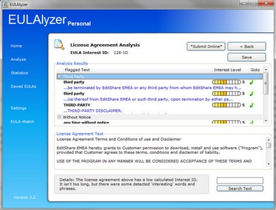 eulalyzer3 small EULAlyzer is a powerful weapon in the fight against unfair software fine print [Freeware]