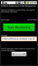 cradar2 CRADAR monitors your phone and automatically alerts an emergency contact if you suffer an accident [Freeware]