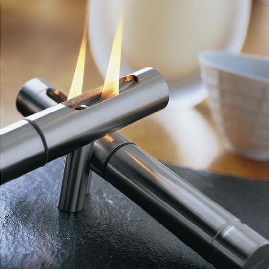 oil lamp tabletop fireplace Slate Tabletop Fireplace is one stylish campfire