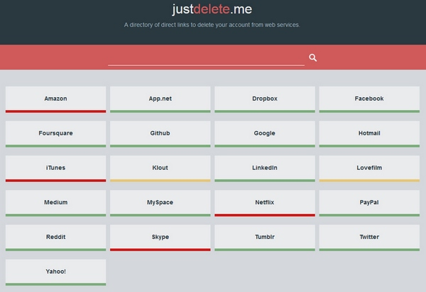 justdeleteme Just Delete Me   bookmark this great collection of direct links to delete your unwanted web accounts