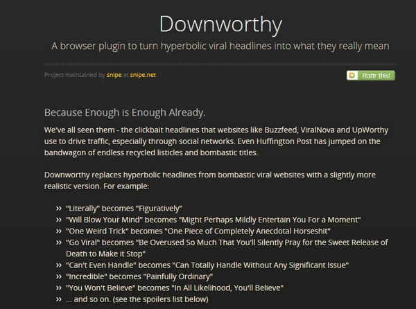 downworthy Downworthy   OMG you wont believe this incredible browser plugin that converts viral headlines into mind blowing truth and reality [Freeware]