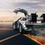 Back to the Future 1981 Delorean Time Machine with Flame Tracks