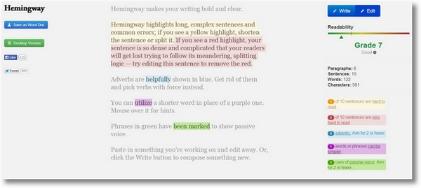 hemmingwayapp Hemingway   improve your writing instantly with this cool free web app
