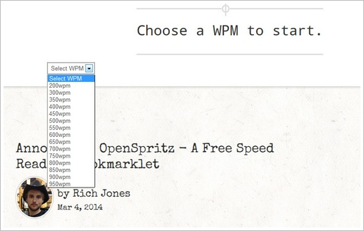 openspritz2 OpenSpritz   free speed reading bookmarklet turns your browser into a 950 wpm speed demon [Freeware]